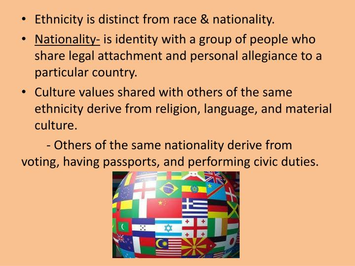 Ethnicity is distinct from race & nationality.