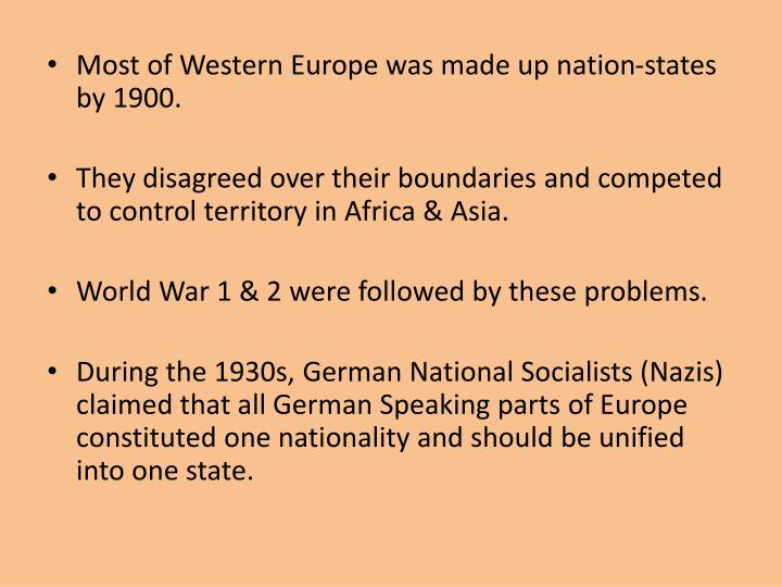 Most of Western Europe was made up nation-states by 1900.