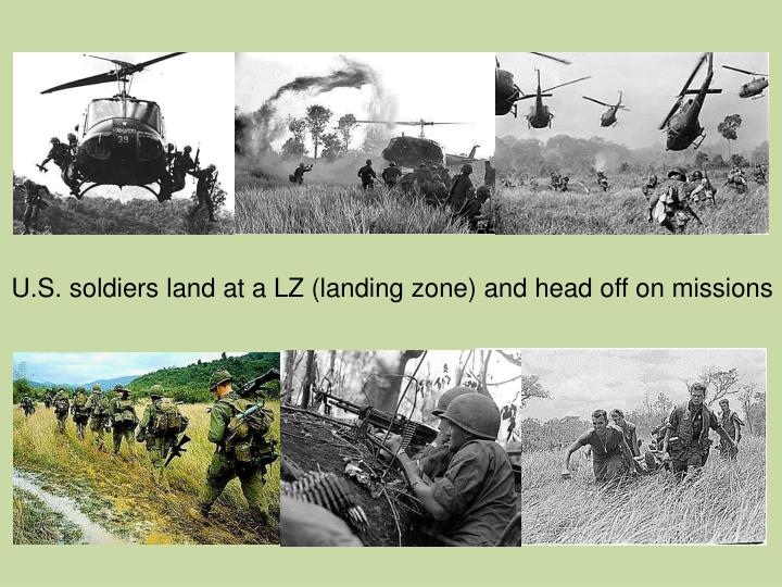 U.S. soldiers land at a LZ (landing zone) and head off on missions