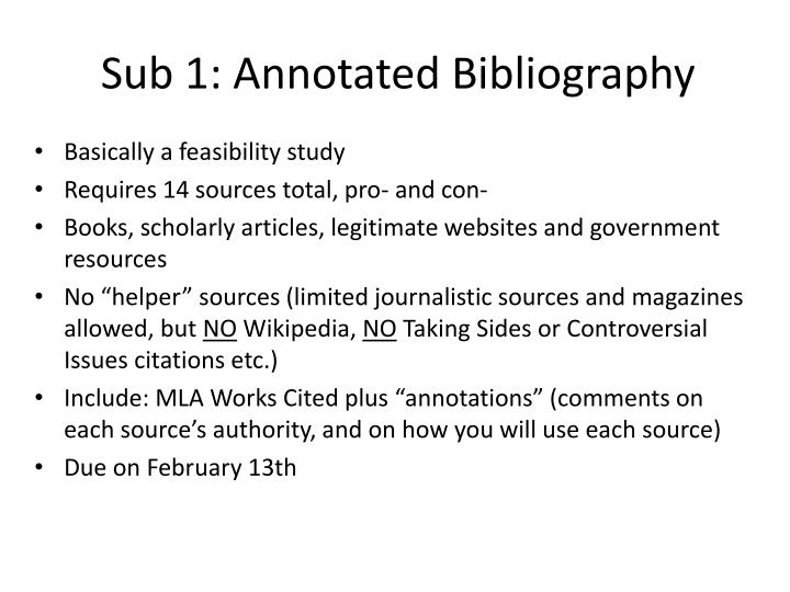 Sub 1: Annotated Bibliography