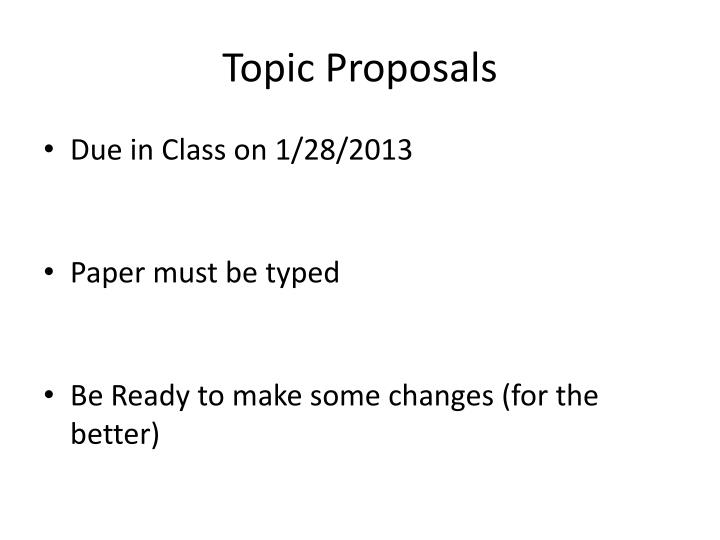 Topic Proposals