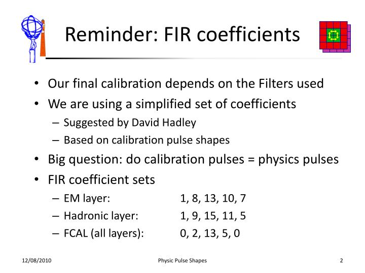 Reminder: FIR coefficients