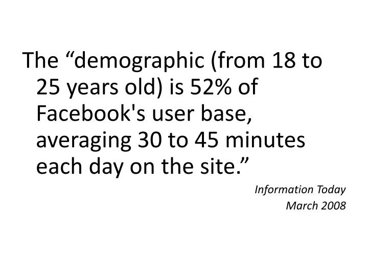 "The ""demographic (from 18 to 25 years old) is 52% of"