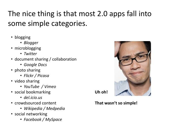The nice thing is that most 2.0 apps fall into some simple categories.