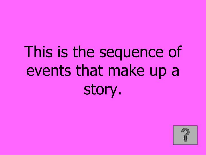 This is the sequence of events that make up a story.
