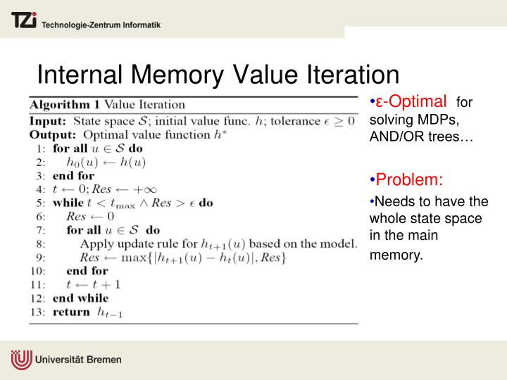 Internal Memory Value Iteration