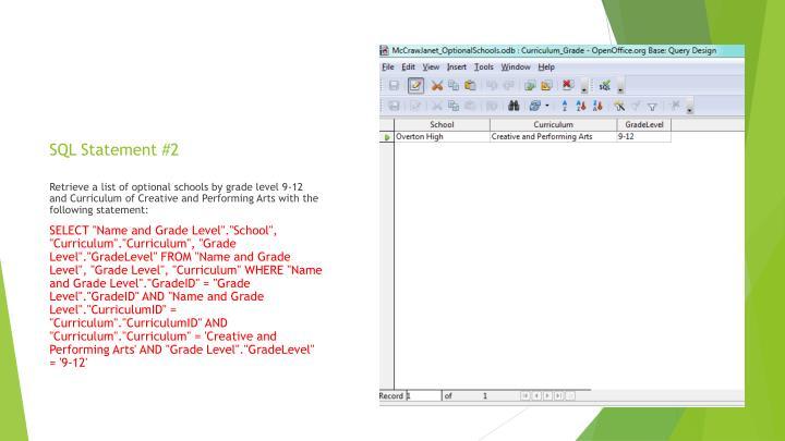 SQL Statement #2