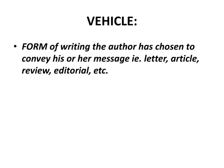 VEHICLE: