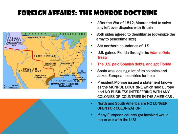 Foreign affairs: the Monroe doctrine