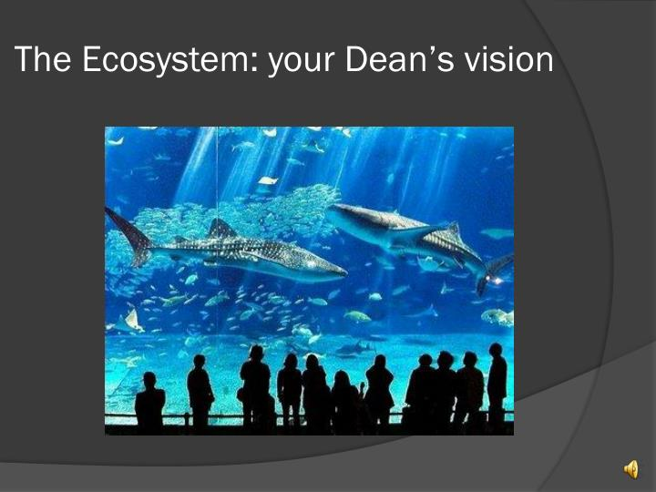 The Ecosystem: your Dean's vision