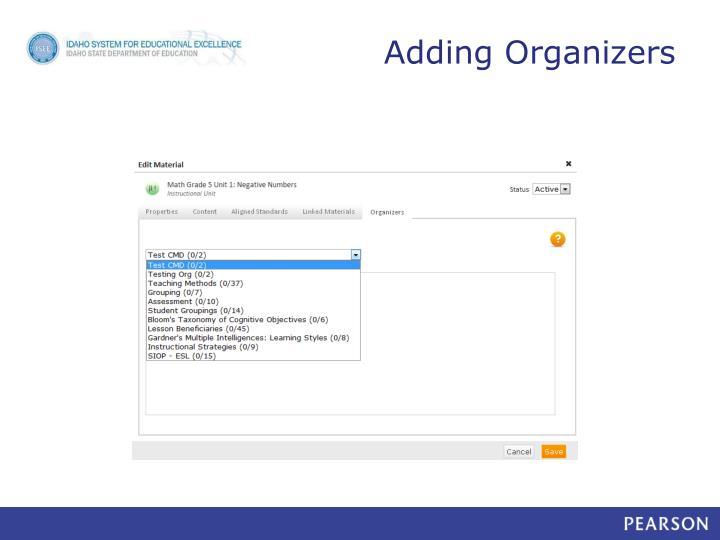 Adding Organizers
