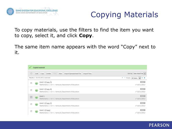 Copying Materials
