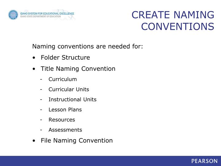 CREATE NAMING CONVENTIONS