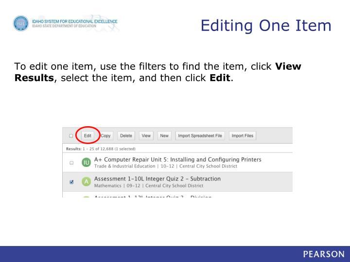 Editing One Item