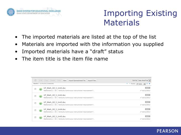 Importing Existing Materials