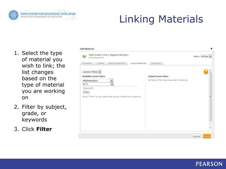 Linking Materials