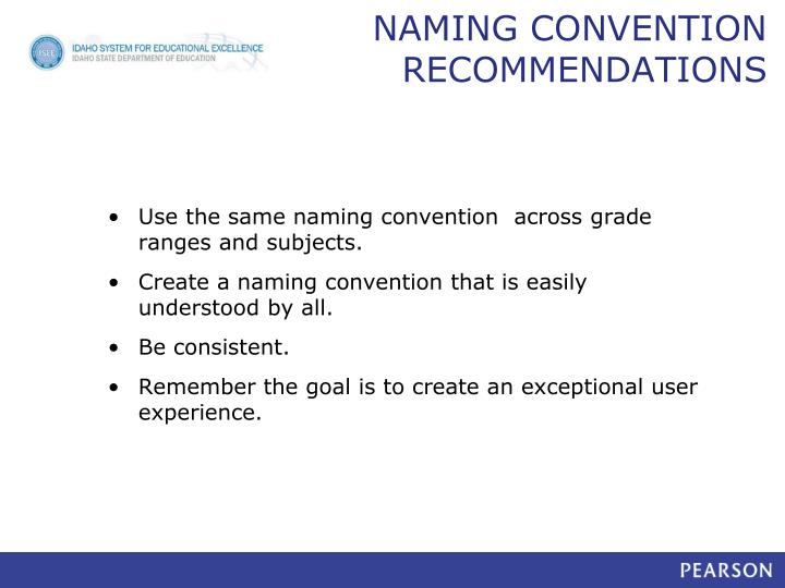 NAMING CONVENTION RECOMMENDATIONS