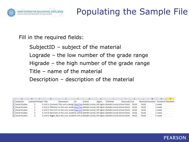 Populating the Sample File