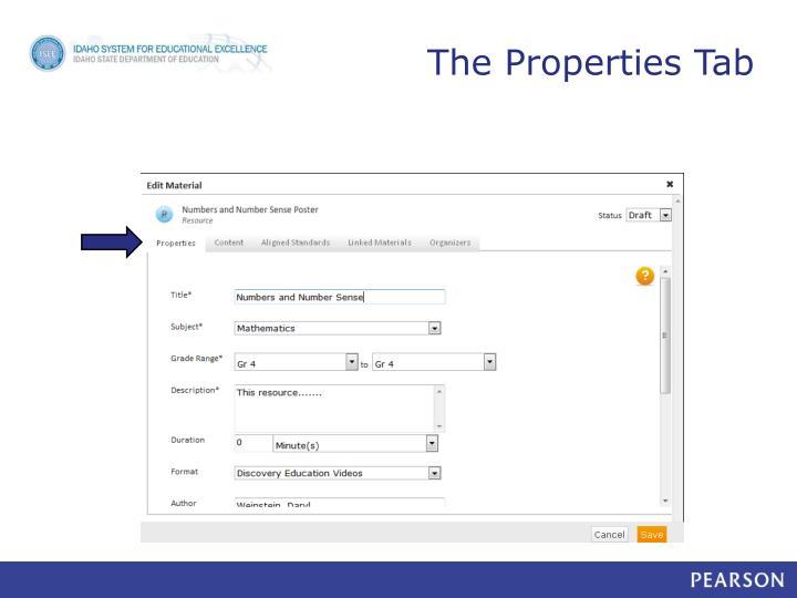The Properties Tab