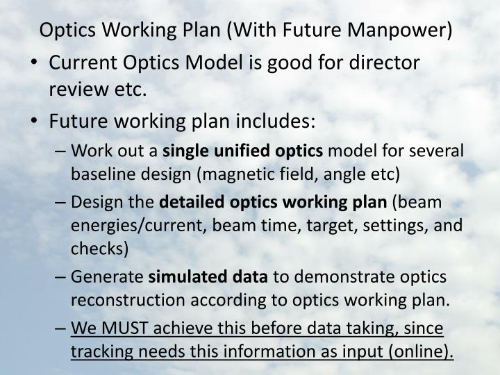 Optics Working Plan (With Future Manpower)