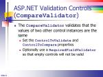 asp net validation controls comparevalidator