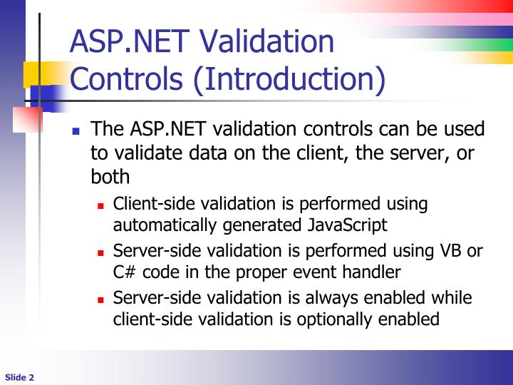 Asp net validation controls introduction