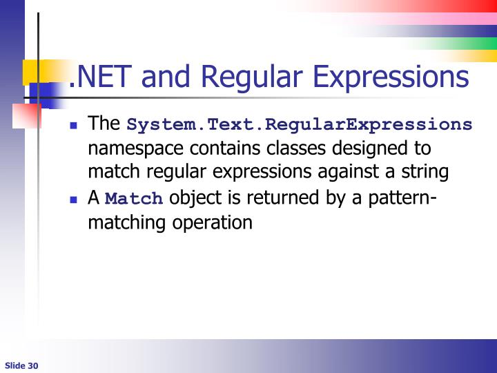.NET and Regular Expressions