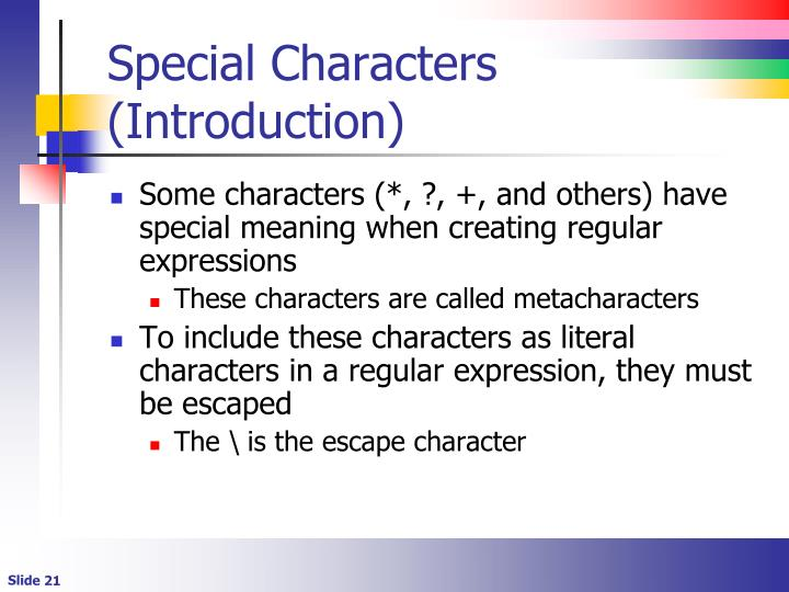 Special Characters (Introduction)