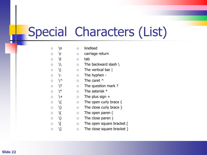 Special  Characters (List)