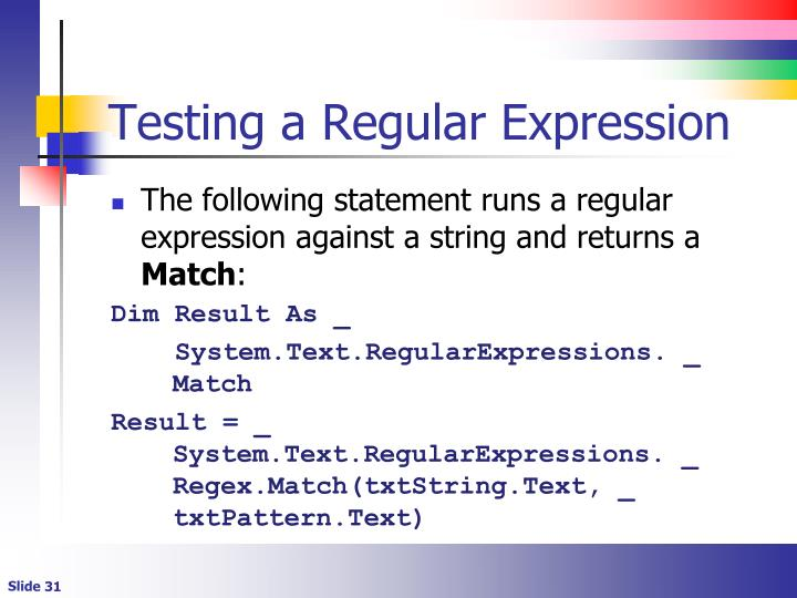 Testing a Regular Expression