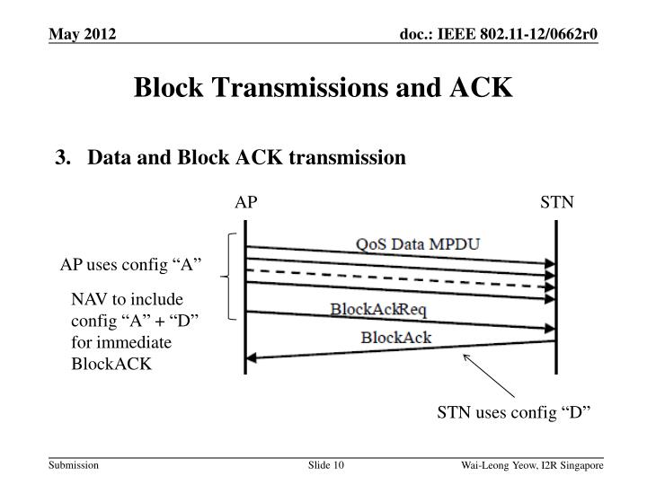 Block Transmissions and ACK