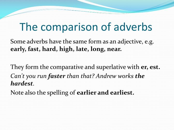 The comparison of adverbs