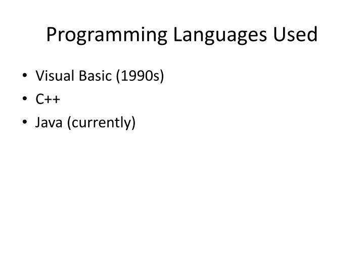 Programming Languages Used