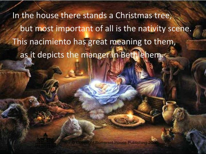 In the house there stands a Christmas tree,