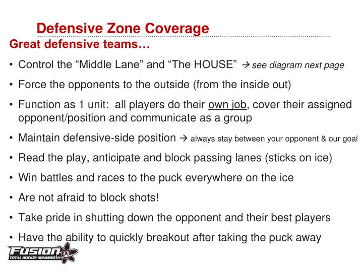 Defensive zone coverage