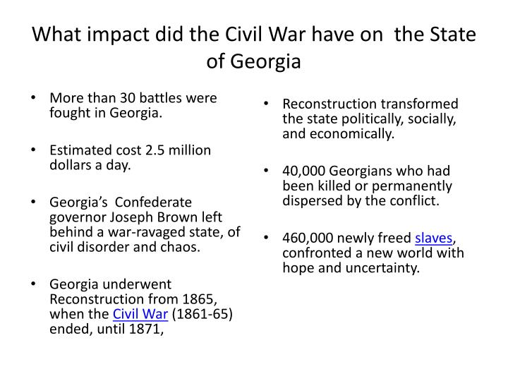 What impact did the Civil War have on  the State of Georgia