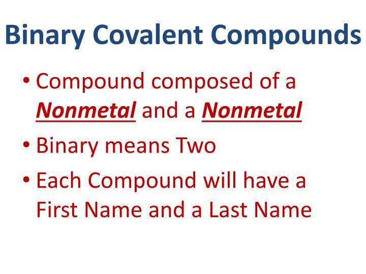 Binary Covalent Compounds