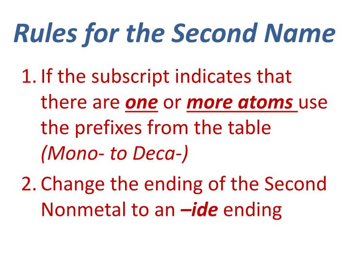 Rules for the Second Name