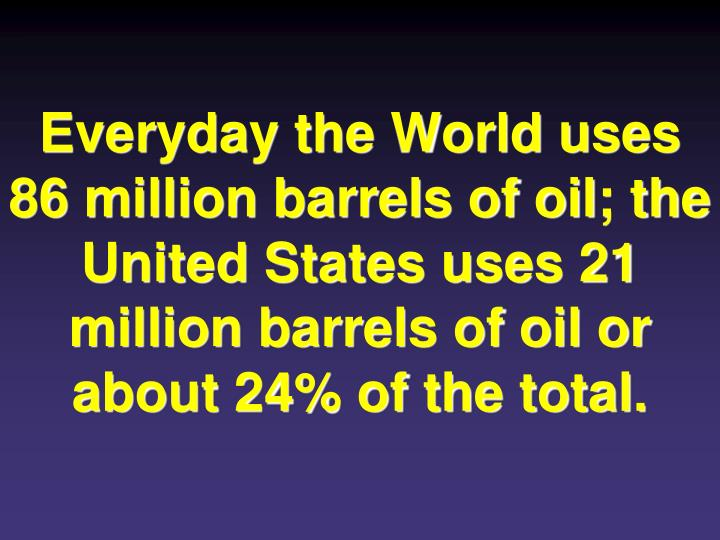 Everyday the World uses 86 million barrels of oil; the United States uses 21 million barrels of oil or about 24% of the total.