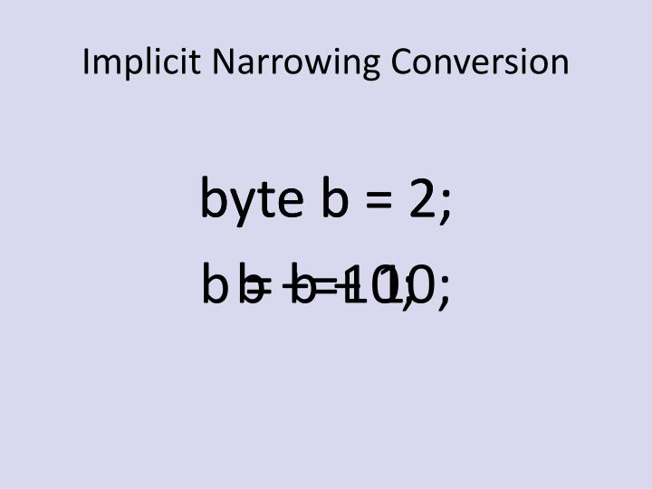 Implicit Narrowing Conversion