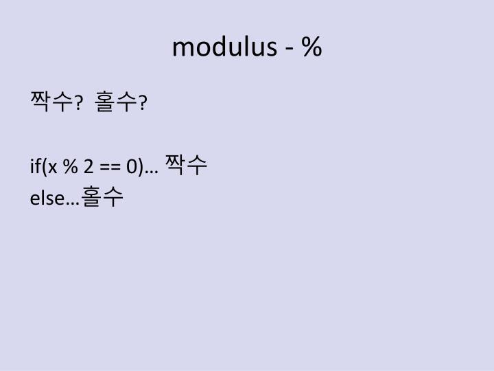 modulus - %