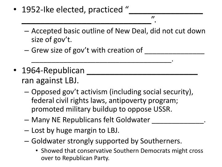"""1952-Ike elected, practiced """""""