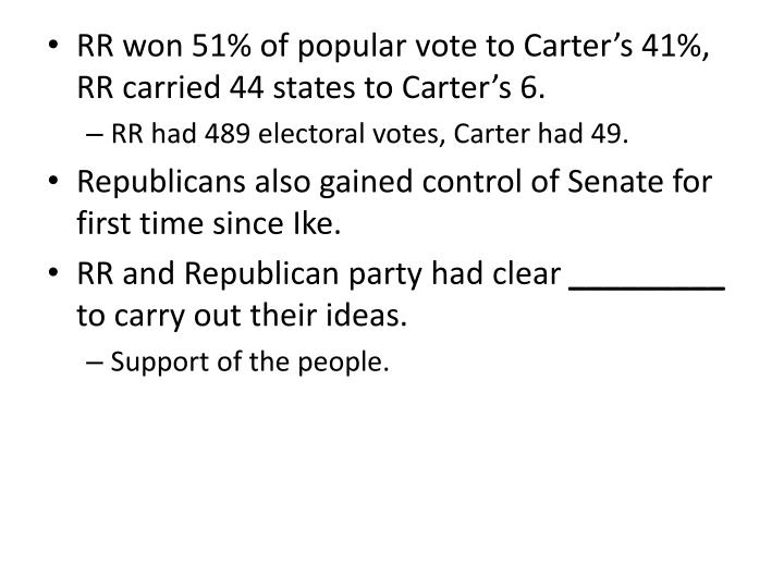 RR won 51% of popular vote to Carter's 41%, RR carried 44 states to Carter's 6.