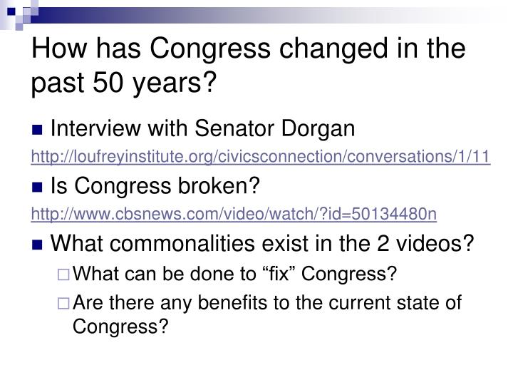 How has Congress changed in the past 50 years?