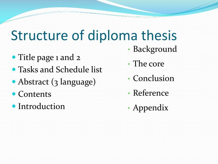 Structure of diploma thesis