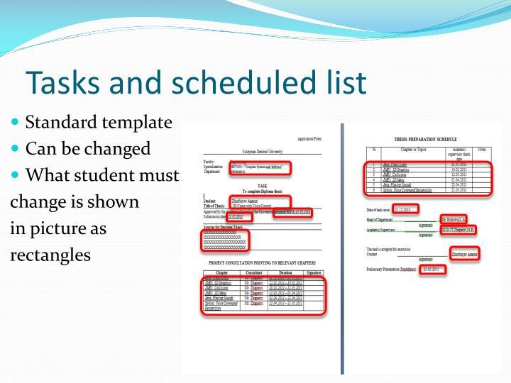 Tasks and scheduled list