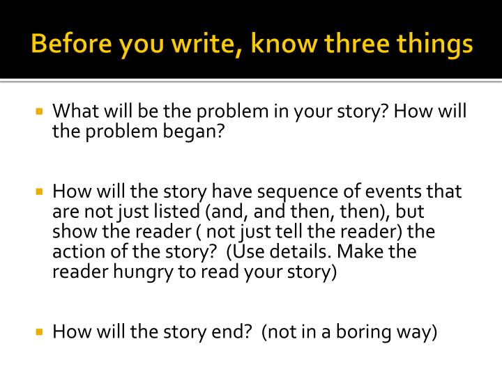 Before you write, know three things