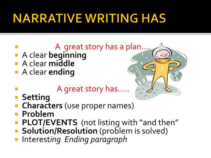 NARRATIVE WRITING HAS