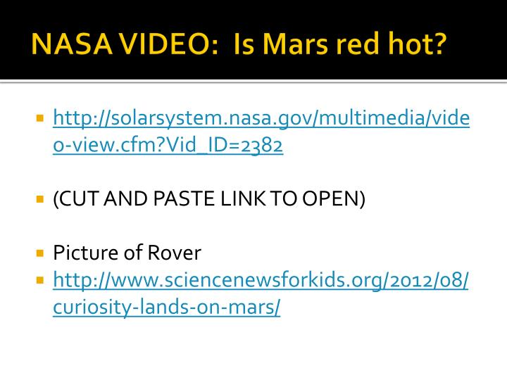 NASA VIDEO:  Is Mars red hot?
