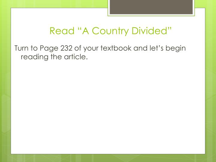 """Read """"A Country Divided"""""""